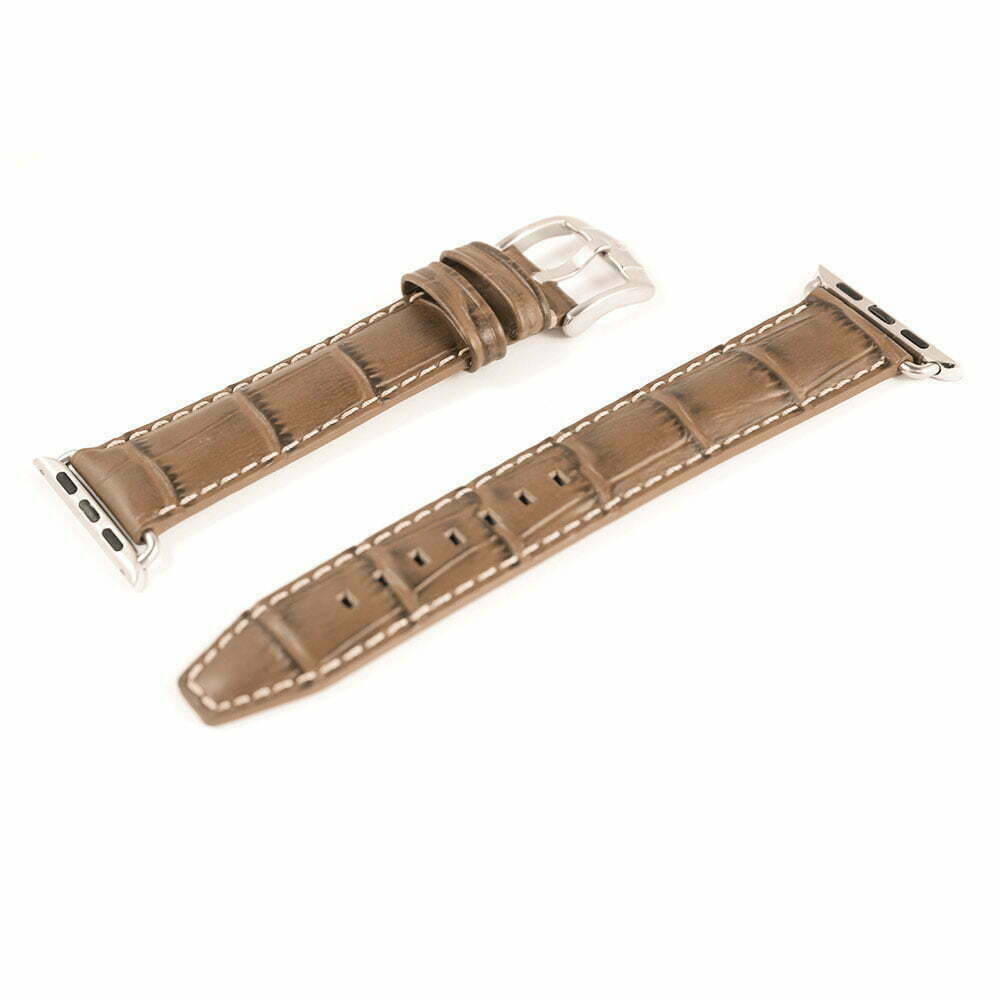 Sobek apple watch bracelet cuir de veau grain alligator band band - Cuir de veau synonyme ...