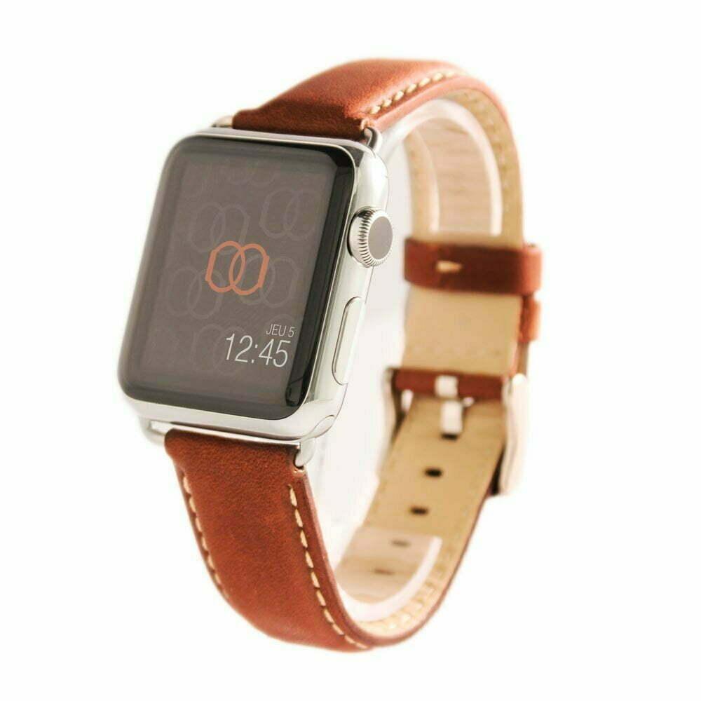 Astralis marron Apple Watch - Bracelet cuir de taureau étanche