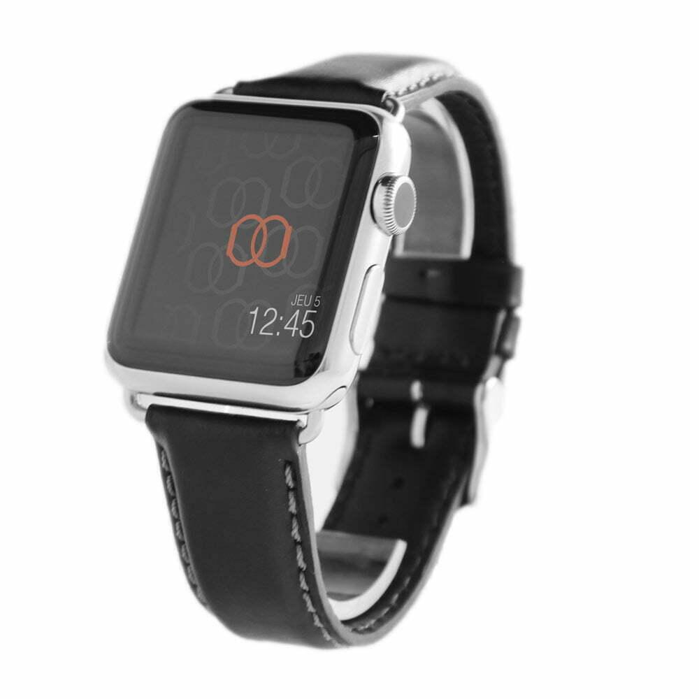 Corium noir Apple Watch - Bracelet cuir de veau étanche