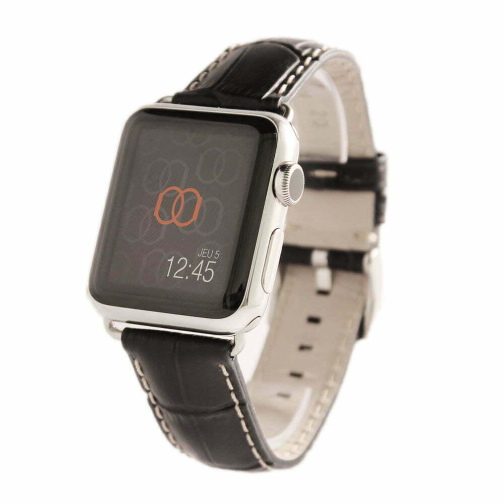 Sobek noir Apple Watch - Bracelet cuir de veau grain alligator