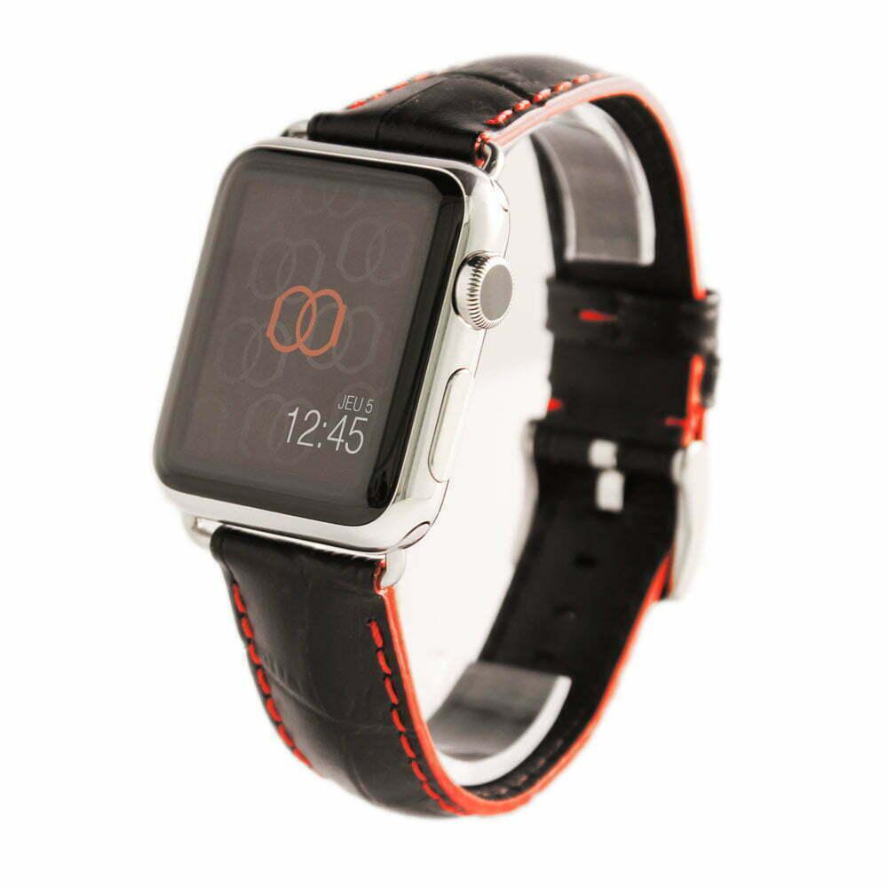 Sobek noir coutures rouge Apple Watch - Bracelet cuir de veau grain alligator