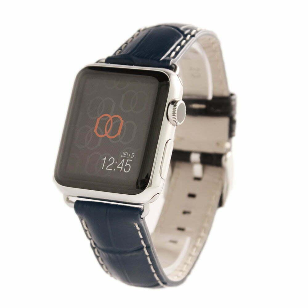 Sobek marine Apple Watch - Bracelet cuir de veau grain alligator