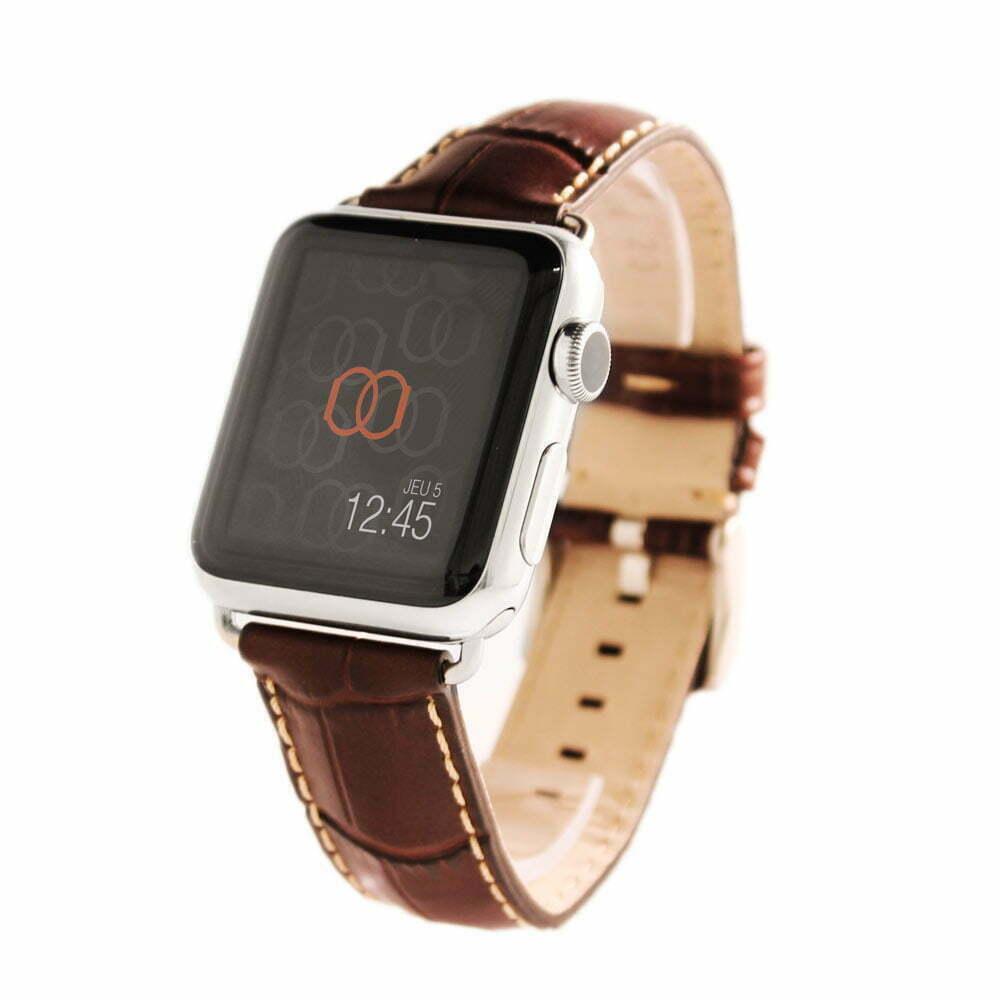 Sobek marron Apple Watch - Bracelet cuir de veau grain alligator