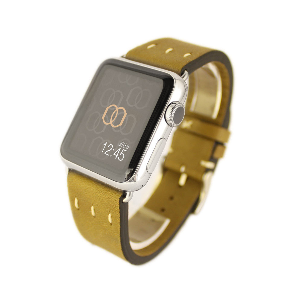 Fargot herbe Vintage Apple Watch – Bracelet cuir pleine fleur