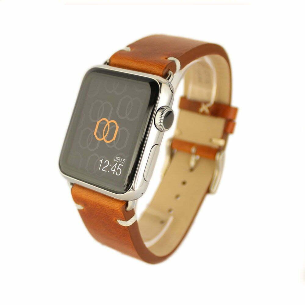 Vintage Apple Watch – Bracelet cuir pleine fleur