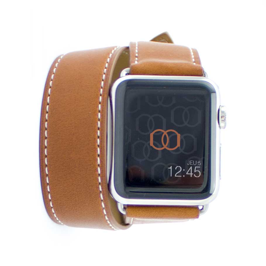 Double tour Band-Band Paris - Cuir de veau Apple Watch