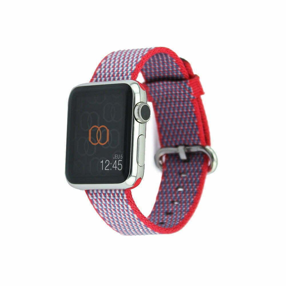 Bracelet en nylon tissé Apple Watch fruits rouges quadrillé