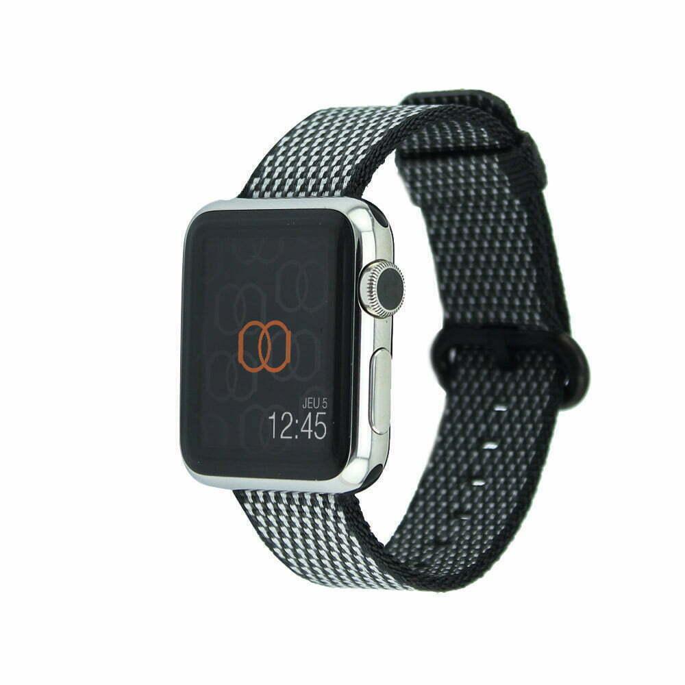 Bracelet en nylon tissé Apple Watch noir quadrillé