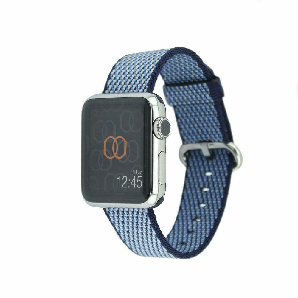Bracelet en nylon tissé Apple Watch bleu nuit quadrillé