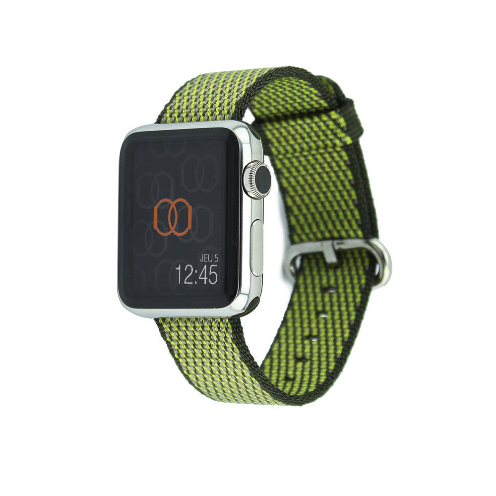 Bracelet en nylon tissé Apple Watch olive sombre quadrillé