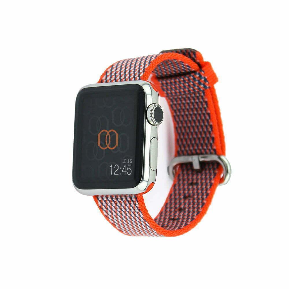 Bracelet en nylon tissé Apple Watch orange curcuma