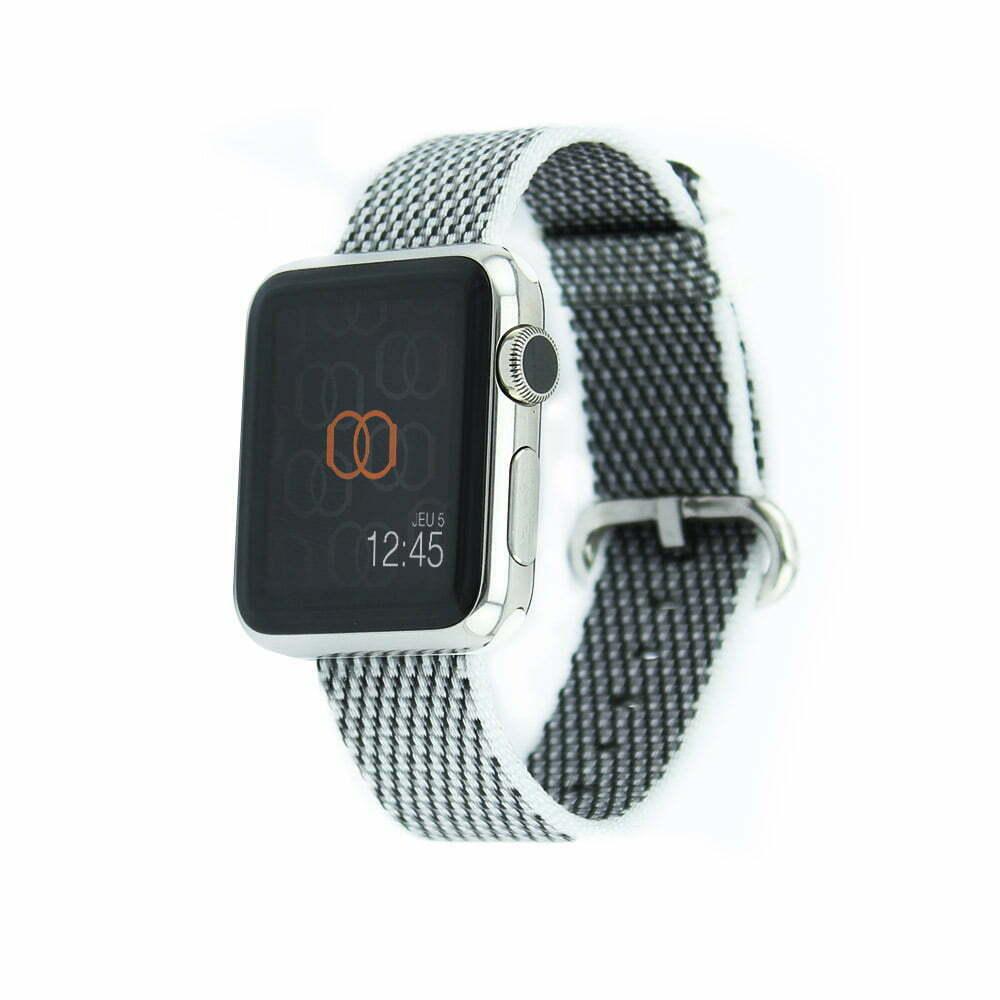 Bracelet en nylon tissé Apple Watch blanc quadrillé