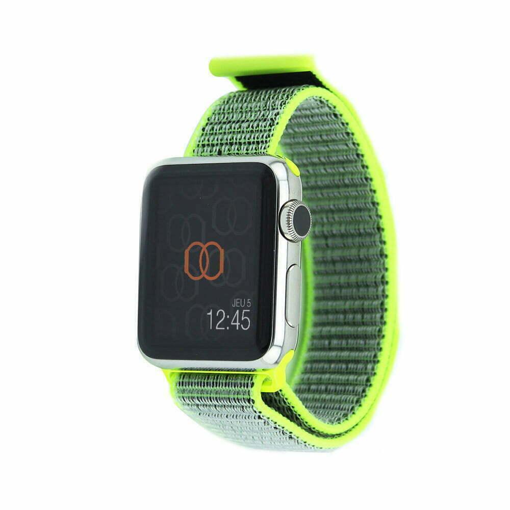 Boucle sport Jaune flashy - Nylon tissé - Apple Watch