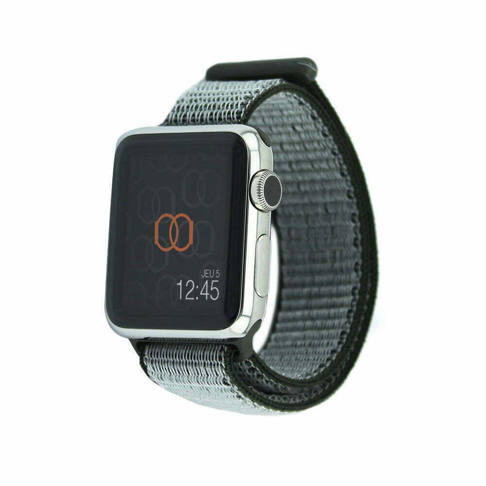 Boucle sport Olive sombre - Nylon tissé - Apple Watch