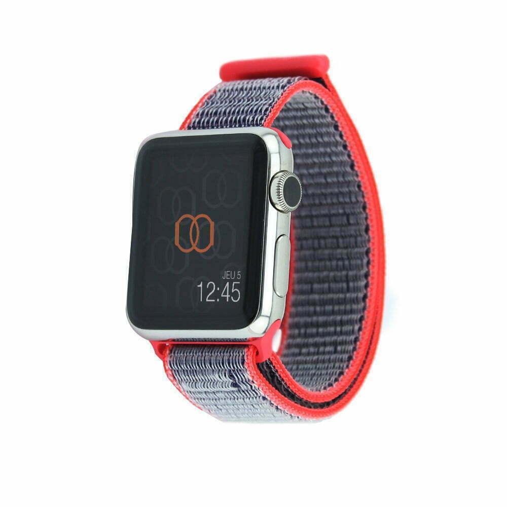 Boucle sport Rose électrique - Nylon tissé - Apple Watch
