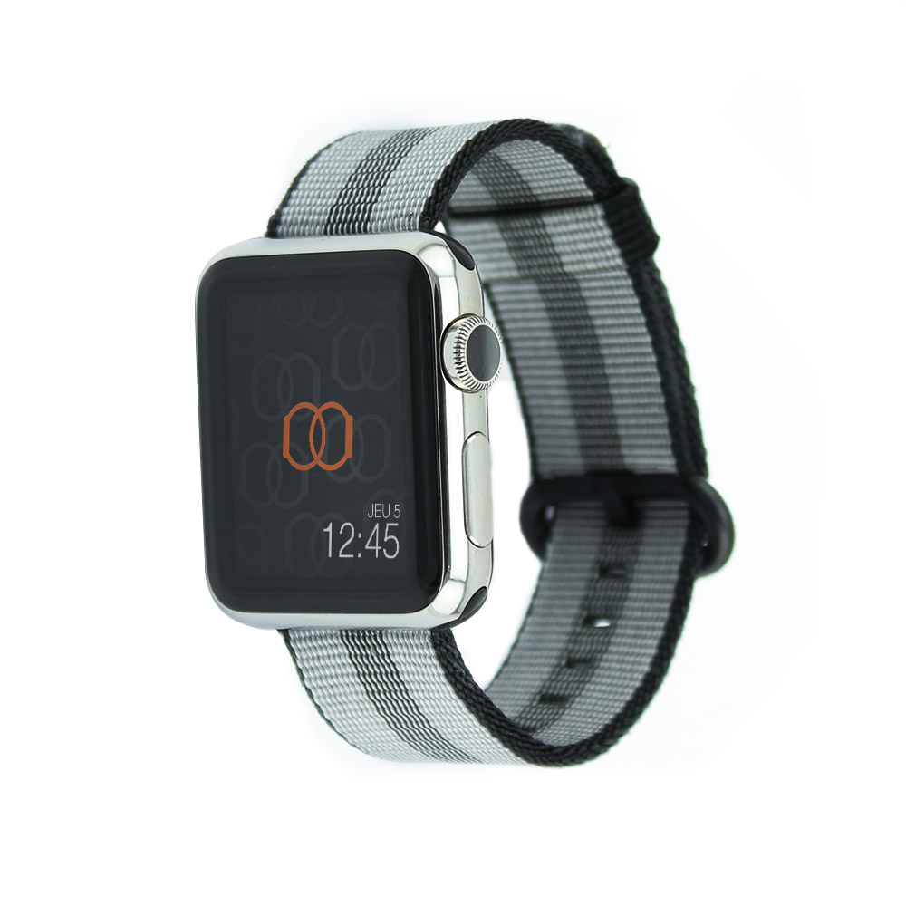 Bracelet en nylon tissé Apple Watch noir rayé