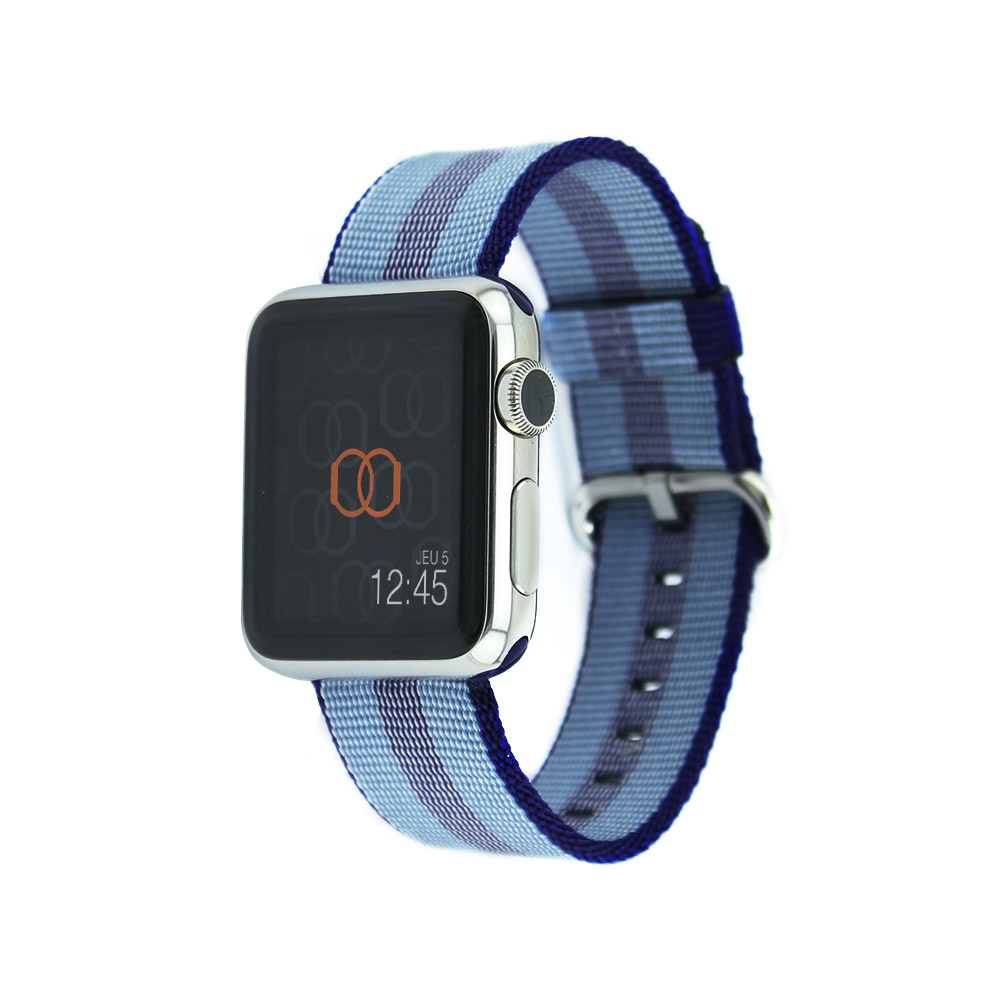 Bracelet en nylon tissé Apple Watch bleu nuit rayé