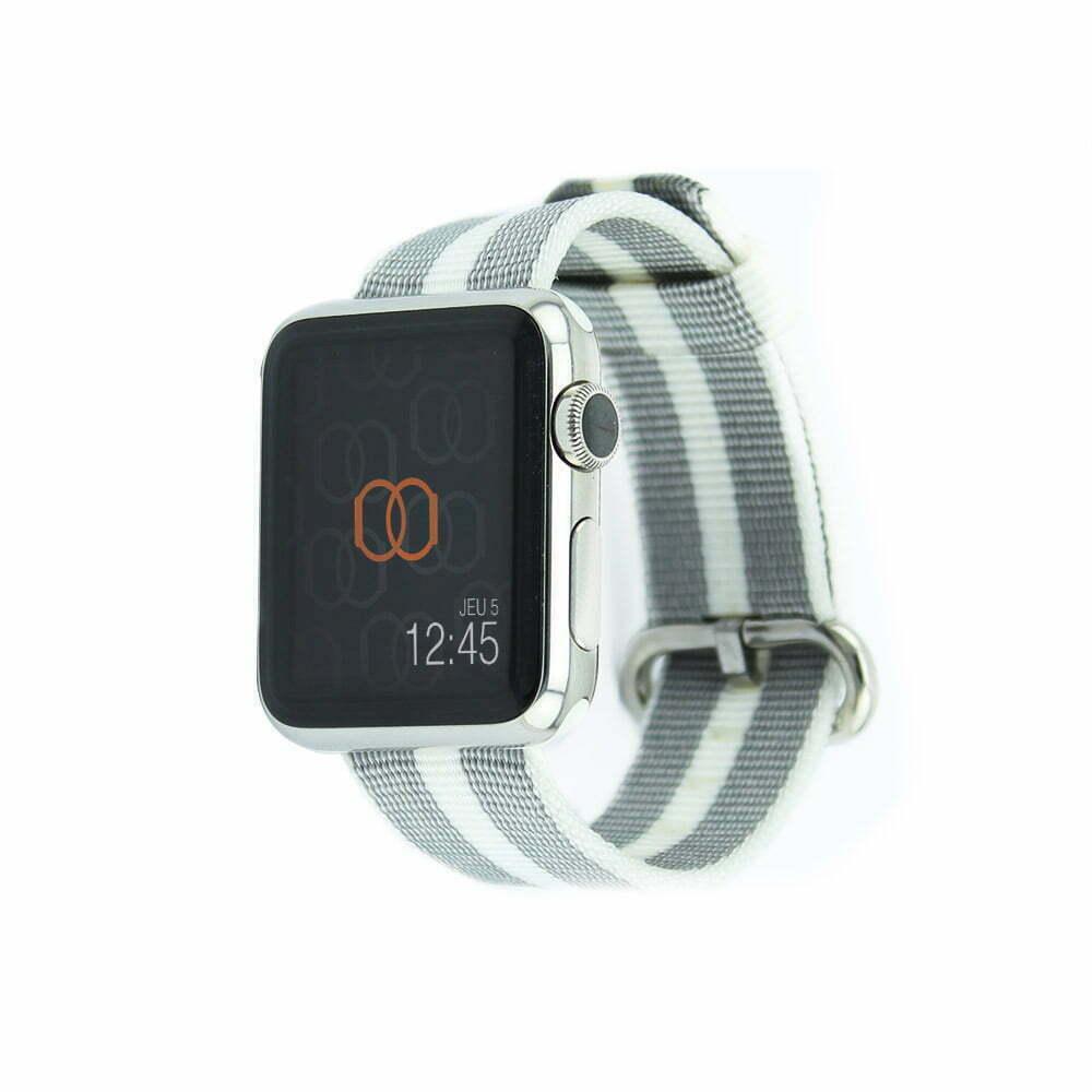 Bracelet en nylon tissé Apple Watch blanc rayé