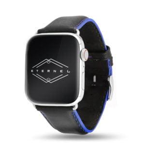 Corium noir coutures bleu Apple Watch - Bracelet cuir de veau étanche