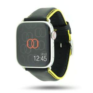 Corium noir coutures jaune Apple Watch - Bracelet cuir de veau étanche