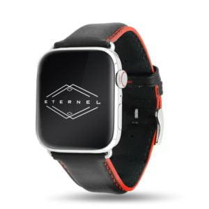 Corium noir coutures rouge Apple Watch - Bracelet cuir de veau étanche