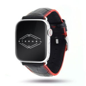 Sobek noir coutures rouge Apple Watch - Bracelet cuir de veau grain alligator