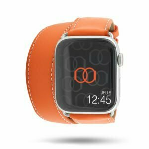 Double tour Band-Band Paris - Cuir de veau Apple Watch - Orange 38/40mm