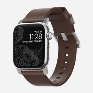 Nomad - Modern argenté - Bracelet cuir Apple Watch