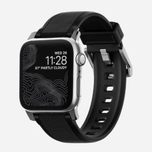 Nomad - Rugged Strap silicone noir - Apple Watch argenté