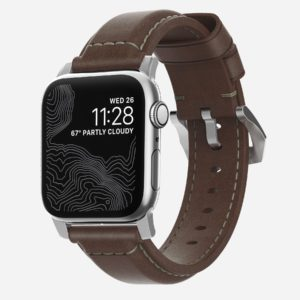 Nomad - Traditionnel argenté - Bracelet cuir Apple Watch