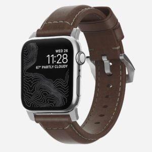 Nomad - Traditionnel argenté - Bracelet cuir Apple Watch