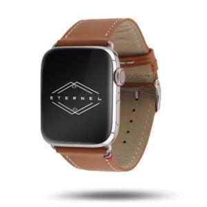 Bracelet fait main Apple Watch simple tour Eternel Paris  – Cuir de vachette graissé