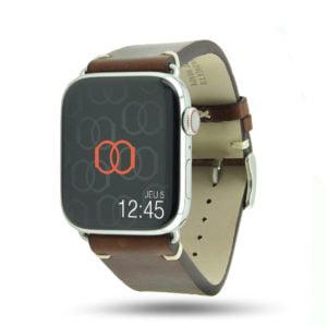 Logan marron Vintage Apple Watch – Bracelet cuir pleine fleur