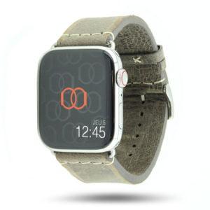 Selman gris Vintage Apple Watch – Bracelet cuir pleine fleur