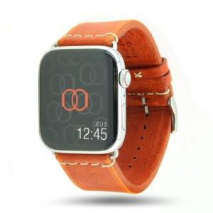 Selman orange Vintage Apple Watch – Bracelet cuir pleine fleur