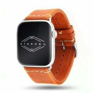 Selman orange Vintage Apple Watch – Bracelet cuir pleine fleur