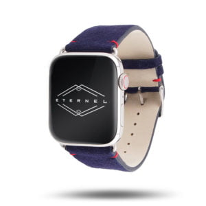 Maverick Apple Watch - Bracelet en cuir de chèvre velours Made in France