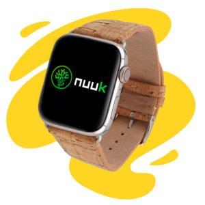 Nuuk - Starmania - Bracelet végan liège avec paillettes dorées - Apple Watch