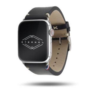 Logan noir Vintage Apple Watch – Bracelet cuir pleine fleur
