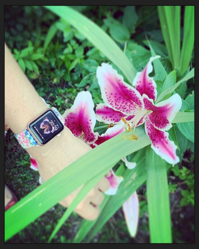Ambiance champêtre au milieu des fleures ce matin 😍🌺🌹🌸🌺 Bracelet #madeinfrance🇫🇷 par @eternel_bracelets   #applewatch #apple #applewatchband #watchporn #watchesofinstagram #applewatchfanz #instawatch #flowerpower