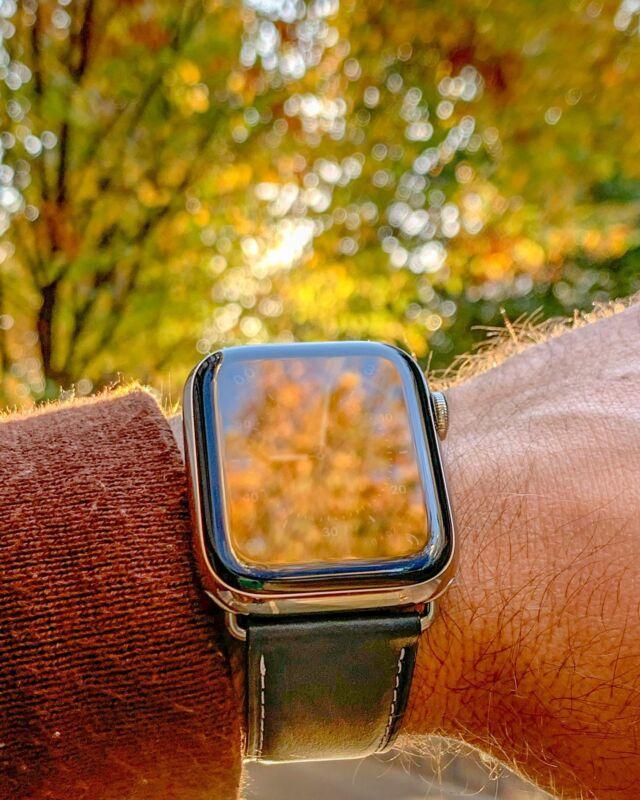 Une belle lueur d'automne aujourd'hui 🍂🍁  #applewatch #apple #applewatchband #watchporn #watchesofinstagram #applewatchfanz #instawatch #astralis #automne   https://www.band-band.com/produit/astralis-apple-watch-bracelet-cuir-de-taureau-etanche/